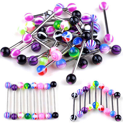100X Tongue Bars Surgical Steel Barbell Rings Mixed Ball Body Piercing Jewellery