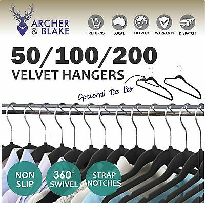 Clothes Coat Hangers Black Velvet Non-slip Bulk Thin Space Saver 50 100  200