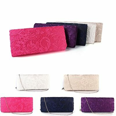 Ladies Lace Satin Clutch Handbag Purse Bag Wedding Prom Party Evening Bridal