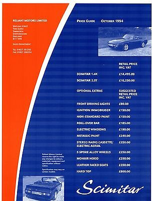 Reliant Scimitar Sabre 1994-95 UK Market Prices & Options Leaflet Brochure