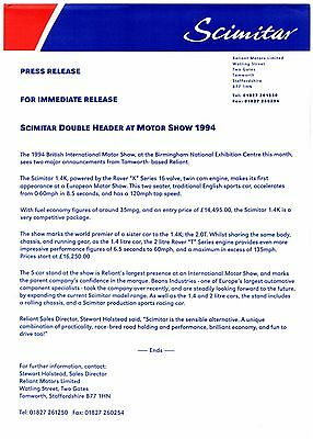 Reliant Scimitar Sabre 1994 UK British Motorshow Press Release