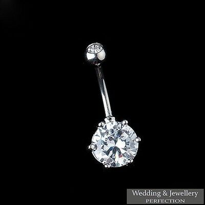 316L Surgical Steel Belly Button Ring Bar Crystal Rhinestone Body Piercing Navel