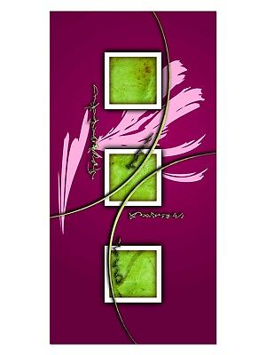 HD GlasBild, Wandbilder XL 50 x 100 cm, EG4100501853 QUADRAT DESIGN PINK ABSTRAK