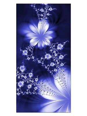 HD GlasBild, Wandbilder XL 50 x 100 cm, EG4100502199 FLOWER FLY DESIGN BLAU ABST