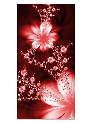 HD GlasBild, Wandbilder XL 50 x 100 cm, EG4100502205 FLOWER FLY DESIGN ROT ABSTR