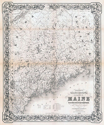 1855 Township & Railroad Map of Maine LARGE 40 x 48