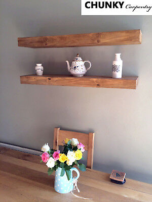 Floating Wooden Rustic Wall Shelves Shelf Wood Solid Industrial WITH BRACKETS