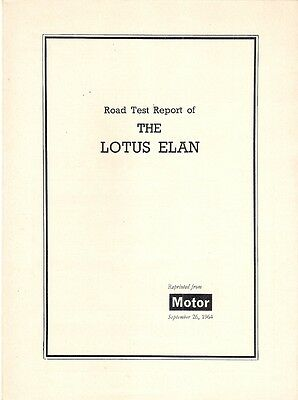Lotus Elan 1600 1964-65 UK Market Road Test Brochure Motor