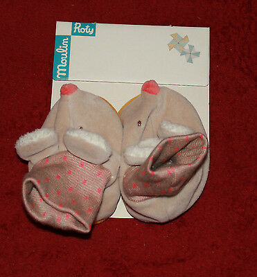"""chaussons souris    """" biscotte et pompom """" Moulin Roty ref. 65010"""