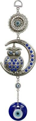 "Owl Crescent Moon Jeweled Evil Eye Wall Hanging 10"" L Pewter & Blue Glass Decor"