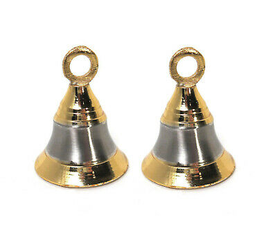 "Set of 2 Brass Bells with Two-Tone Design 2""H for Hanging or Stringing"