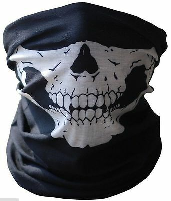 Skull Half Face Paintball Mask Scarf Bandana Skeleton Ski Motorcycle Biker Black