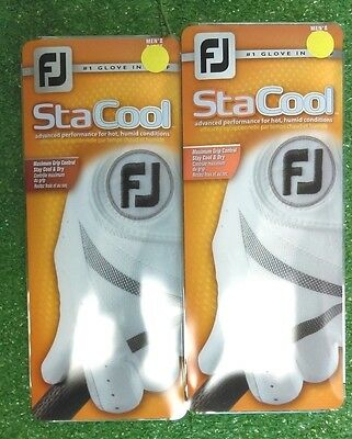 Footjoy FJ StaCool Men's Golf Glove Lot of 2 Gloves NEW White Left Hand