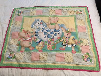 Handmade Stitched Quilt For Baby With Rocking Horse And Teddy Bear