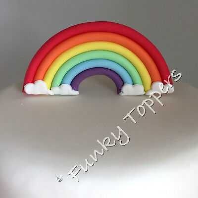 Edible Bright Rainbow Fondant Topper Cake Decorations Standup Birthday Sugar