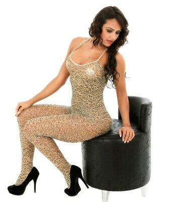 See Through Wild leopard print Party Club Wear Bodystocking Lingerie, Size S-M