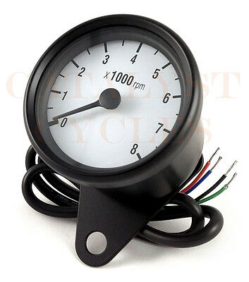 Black Tachometer for all Dual Fire Ignitions Mini Motorcycle Tach Universal Fit