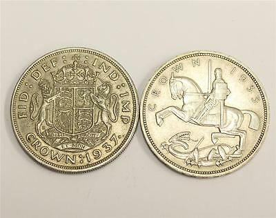 1935 EF45 & 1937 VF30 Great Britain Silver Crowns both authentic & original