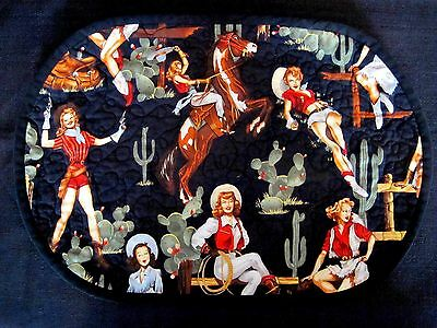 4 Western Pin-Up Cowgirl Quilted Placemats W/ Barbed Wire Fabric Backs EUC