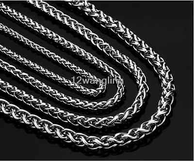 3/4/5/6/8/10mm Silver Chain Necklace for Mens Wheat Braided Link Stainless Steel