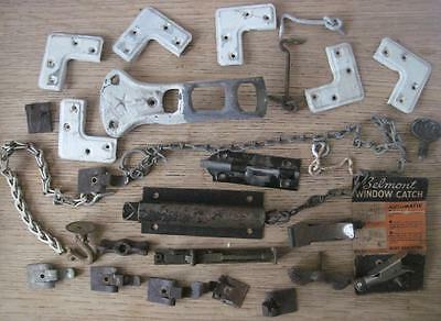 Antique/Vintage Salvaged Hardware Lot  Doorstop Chain Bowtie Turn Flag Mount A64