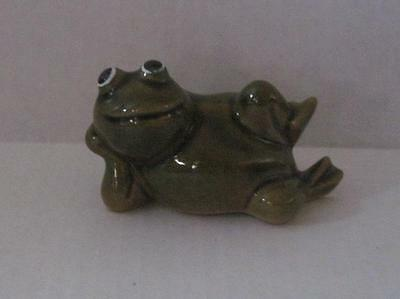 Vintage Ceramic Lounging Frog Figurine Painted Green