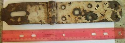 Antique/Vintage Gate Lock/Latch HUGE METAL Painted White Shabby Rustic Barn #65