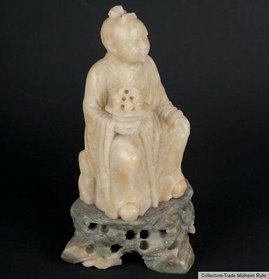 China 20 Jh. Speckstein - A Chinese Soapstone Figure of LAN CAIHE Cinese Chinois