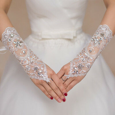 Women Lady #T Lace Long Fingerless Wedding Accessory Crystal Bridal Party Gloves