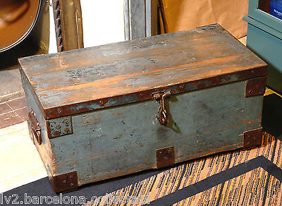 RESTORED ATTRACTIVE AND STURDY BIG WOODEN BOX/ CHEST DATED IN 1938 Ref-770061
