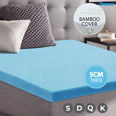 5CM Cool Gel Memory Foam Mattress Topper BAMBOO Fabric Cover Double Protector