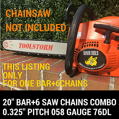 Dingo Tool New 20'' Bar And 6 Chains For Dingo Tools 62Cc Chainsaw .325 058 76Dl