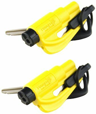 Resqme GBO-RQMTWIN-YELLOW Car Escape Tool with Clip, Yellow, Pack of 2