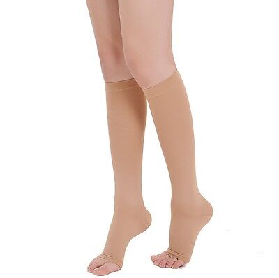 New Compression Socks OPEN TOE Knee High Leg Support Stockings (2 PAIRS)
