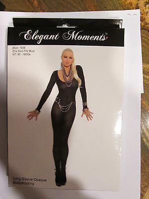 Elegant Moments Opaque Bodystocking Long Sleeve 1 Size Open Crotch Black