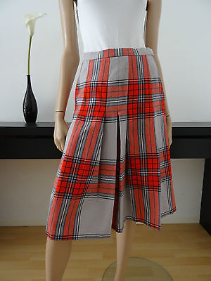 Jupe vintage GERARD PASQUIER tartan gris/rouge taille 36 / Made in France