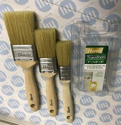 """Harris 3 Piece Paint Brush Set 1"""" 1.5"""" 2"""" For Paint And Varnish New In Pack"""
