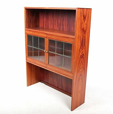 Vintage Bookcase Danish Rosewood Cabinet Glass Cupboard Bookshelves Top Cupboard