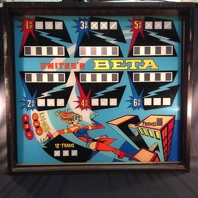 Vintage Retro 1969 Williams United Beta Arcade Game Back Glass with Shadow Box