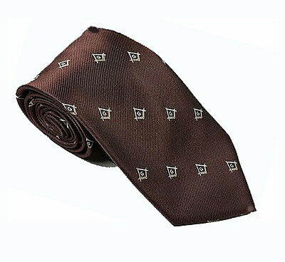 MASONIC TIE - BROWN with GOLD ACCENTED LOGO - CLUB NECKTIE - NEW