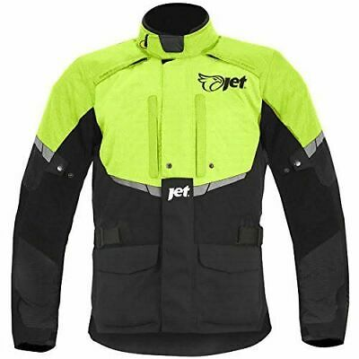 JET Mens Black/Fluro Textile Motorcycle Motorbike Jacket Waterproof CE Armoured