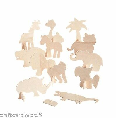 12 x Unfinished Wood / Wooden Stand-Up Safari Jungle Animals - Birds - Tree