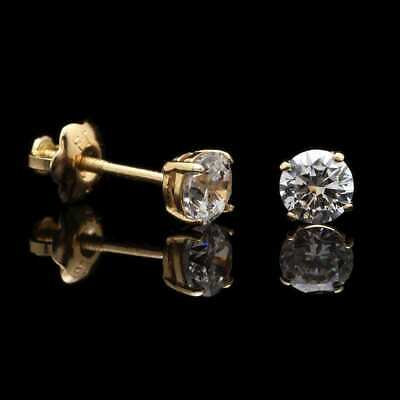 0.5Ct Created Brilliant 14K Yellow Gold 4mm Round Stud Screw Back Earrings