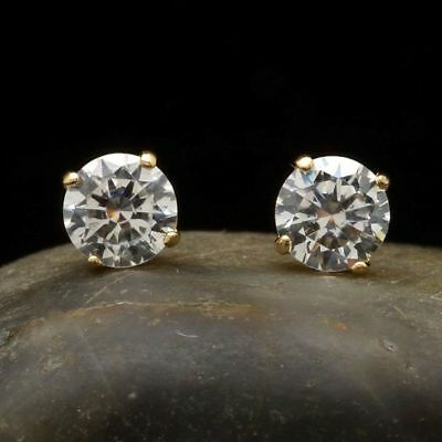 .3Ct Created Diamond 14K Yellow Gold Brilliant Cut Screwback Stud Earrings 3mm