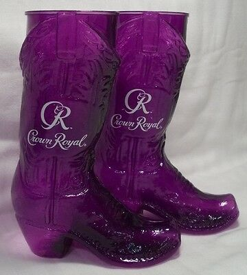 Crown Royal Purple Plastic Boot Glass Cup Pair