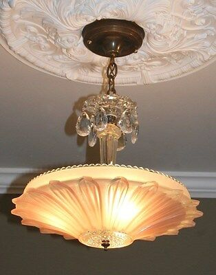 Antique pink glass custom art deco light fixture ceiling chandelier sunflower