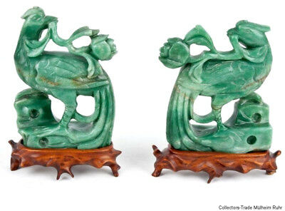 China 20. Jh. Vögel - A Pair of Chinese Carved Hardstone Birds - Cinese Chinois