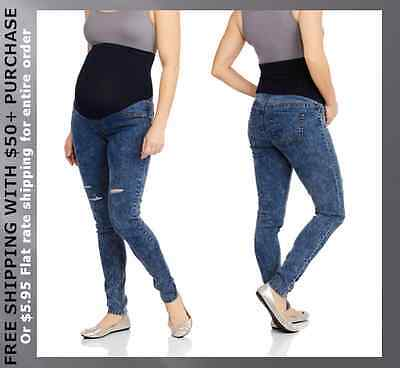 NEW Large 12/14 Maternity Bleached Distressed Ripped Strech Skinny Blue Jeans