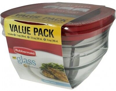 New Rubbermaid 6-Piece Glass Food Storage Value Pack Assorted Dishwasher Safe