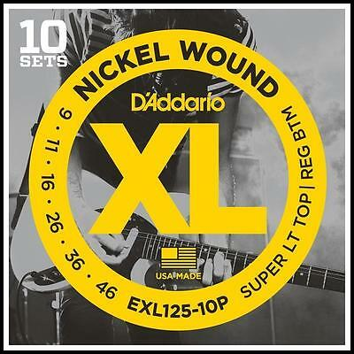 10 Pack D'Addario EXL125 Super Lite Top / Reg Bot Electric Guitar Strings 9 - 46